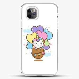 Unicorn Girl Cute On Hot Air Ballon iPhone 11 Pro Max Case, White Plastic Case | JoeYellow.com