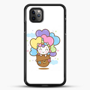 Unicorn Girl Cute On Hot Air Ballon iPhone 11 Pro Max Case, Black Rubber Case | JoeYellow.com