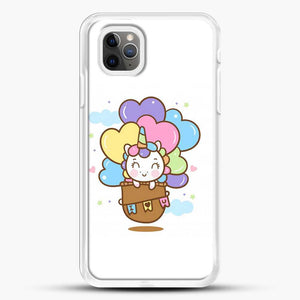 Unicorn Girl Cute On Hot Air Ballon iPhone 11 Pro Max Case, White Rubber Case | JoeYellow.com