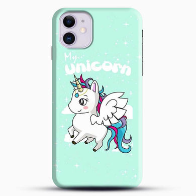 Unicorn Girl Flying iPhone 11 Case, Black Snap 3D Case | JoeYellow.com