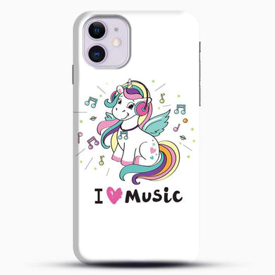 Unicorn Girl I Love You Music iPhone 11 Case, Black Snap 3D Case | JoeYellow.com