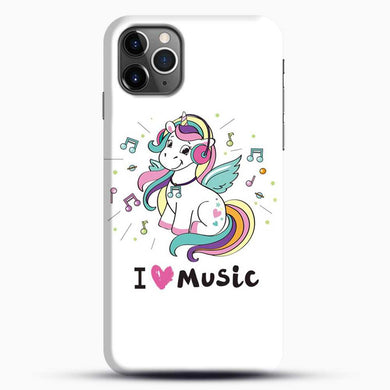 Unicorn Girl I Love You Music iPhone 11 Pro Max Case, Black Snap 3D Case | JoeYellow.com