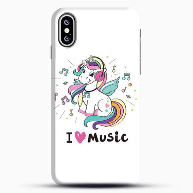 Unicorn Girl I Love You Music iPhone XS Case, Black Snap 3D Case | JoeYellow.com
