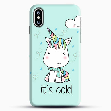 Unicorn Girl Its Cold iPhone XS Case, Black Snap 3D Case | JoeYellow.com