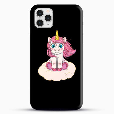 Unicorn Girl Little Horse Pink Hair iPhone 11 Pro Case, Black Snap 3D Case | JoeYellow.com