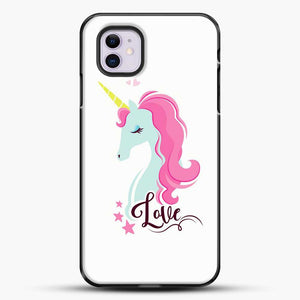 Unicorn Girl Love iPhone 11 Case, Black Plastic Case | JoeYellow.com