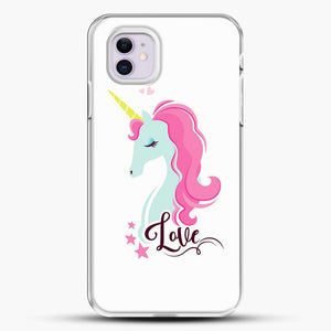 Unicorn Girl Love iPhone 11 Case, White Plastic Case | JoeYellow.com