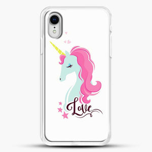 Unicorn Girl Love iPhone XR Case, White Rubber Case | JoeYellow.com