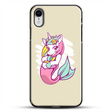 Load image into Gallery viewer, Unicorn Girl Mermaid iPhone XR Case, Black Plastic Case | JoeYellow.com