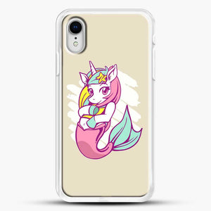 Unicorn Girl Mermaid iPhone XR Case, White Rubber Case | JoeYellow.com