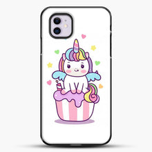Load image into Gallery viewer, Unicorn Girl On Cupcake iPhone 11 Case, Black Plastic Case | JoeYellow.com