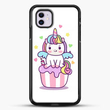 Load image into Gallery viewer, Unicorn Girl On Cupcake iPhone 11 Case, Black Rubber Case | JoeYellow.com