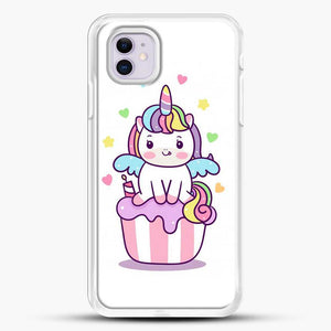 Unicorn Girl On Cupcake iPhone 11 Case, White Rubber Case | JoeYellow.com