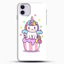 Load image into Gallery viewer, Unicorn Girl On Cupcake iPhone 11 Case, Black Snap 3D Case | JoeYellow.com