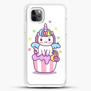 Unicorn Girl On Cupcake iPhone 11 Pro Max Case, White Rubber Case | JoeYellow.com