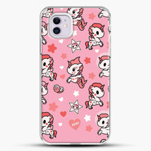 Load image into Gallery viewer, Unicorn Girl Pink Flower Pattern iPhone 11 Case, White Plastic Case | JoeYellow.com