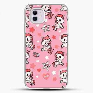 Unicorn Girl Pink Flower Pattern iPhone 11 Case, White Plastic Case | JoeYellow.com
