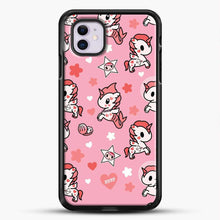 Load image into Gallery viewer, Unicorn Girl Pink Flower Pattern iPhone 11 Case, Black Rubber Case | JoeYellow.com