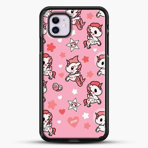 Unicorn Girl Pink Flower Pattern iPhone 11 Case, Black Rubber Case | JoeYellow.com