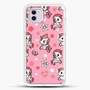Unicorn Girl Pink Flower Pattern iPhone 11 Case, White Rubber Case | JoeYellow.com