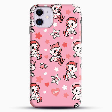 Unicorn Girl Pink Flower Pattern iPhone 11 Case, Black Snap 3D Case | JoeYellow.com
