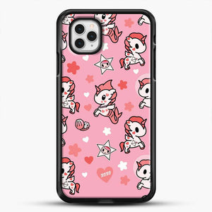 Unicorn Girl Pink Flower Pattern iPhone 11 Pro Case, Black Rubber Case | JoeYellow.com
