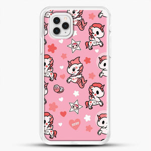 Unicorn Girl Pink Flower Pattern iPhone 11 Pro Case, White Rubber Case | JoeYellow.com