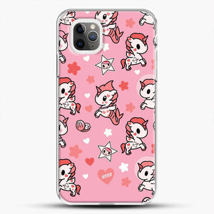 Unicorn Girl Pink Flower Pattern iPhone 11 Pro Max Case, White Plastic Case | JoeYellow.com