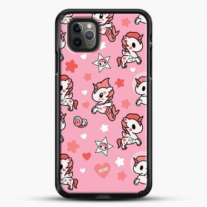 Unicorn Girl Pink Flower Pattern iPhone 11 Pro Max Case, Black Rubber Case | JoeYellow.com