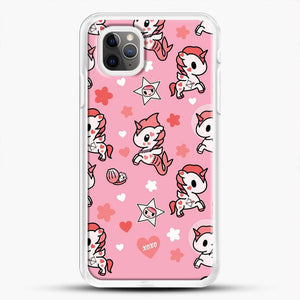 Unicorn Girl Pink Flower Pattern iPhone 11 Pro Max Case, White Rubber Case | JoeYellow.com
