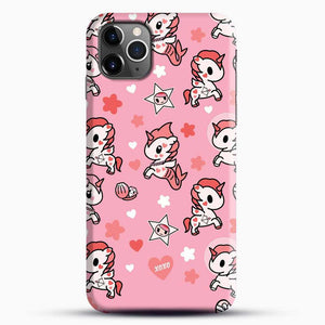 Unicorn Girl Pink Flower Pattern iPhone 11 Pro Max Case, Black Snap 3D Case | JoeYellow.com