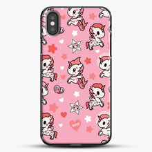 Load image into Gallery viewer, Unicorn Girl Pink Flower Pattern iPhone X Case, Black Plastic Case | JoeYellow.com