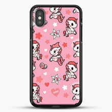 Load image into Gallery viewer, Unicorn Girl Pink Flower Pattern iPhone X Case, Black Rubber Case | JoeYellow.com