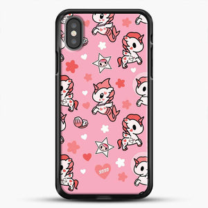 Unicorn Girl Pink Flower Pattern iPhone X Case, Black Rubber Case | JoeYellow.com