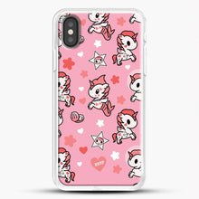 Load image into Gallery viewer, Unicorn Girl Pink Flower Pattern iPhone X Case, White Rubber Case | JoeYellow.com