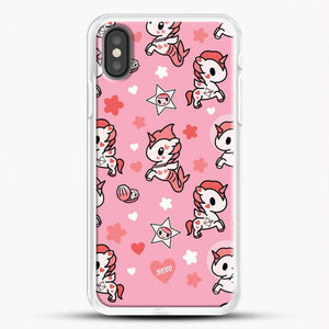 Unicorn Girl Pink Flower Pattern iPhone X Case, White Rubber Case | JoeYellow.com