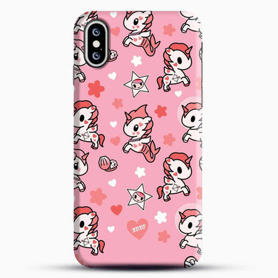 Unicorn Girl Pink Flower Pattern iPhone XS Case, Black Snap 3D Case | JoeYellow.com