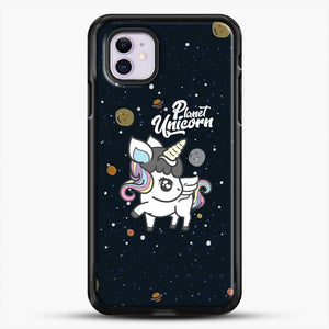 Unicorn Girl Planet iPhone 11 Case, Black Rubber Case | JoeYellow.com