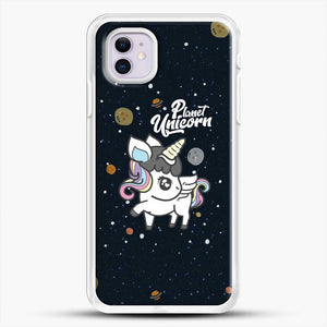 Unicorn Girl Planet iPhone 11 Case, White Rubber Case | JoeYellow.com