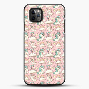 Unicorn Girl Rainbow Could And Star Pattern iPhone 11 Pro Max Case, Black Plastic Case | JoeYellow.com