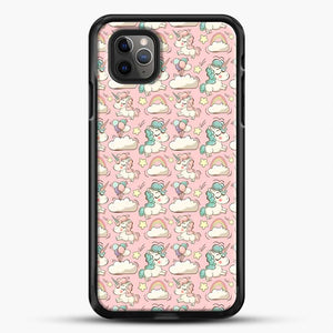 Unicorn Girl Rainbow Could And Star Pattern iPhone 11 Pro Max Case, Black Rubber Case | JoeYellow.com