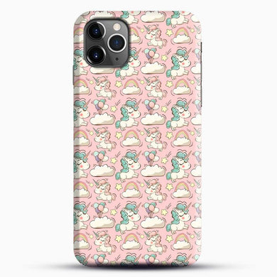 Unicorn Girl Rainbow Could And Star Pattern iPhone 11 Pro Max Case, Black Snap 3D Case | JoeYellow.com