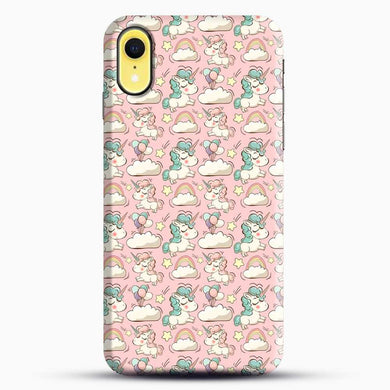 Unicorn Girl Rainbow Could And Star Pattern iPhone XR Case, Black Snap 3D Case | JoeYellow.com
