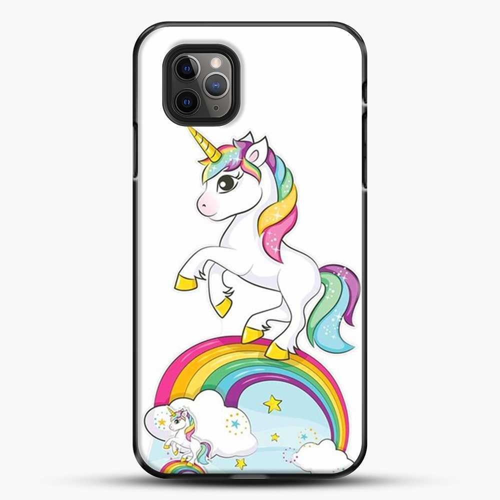 Unicorn Girl Rainbow iPhone 11 Pro Max Case, Black Plastic Case | JoeYellow.com
