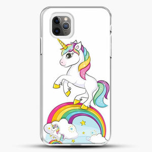 Unicorn Girl Rainbow iPhone 11 Pro Max Case, White Plastic Case | JoeYellow.com