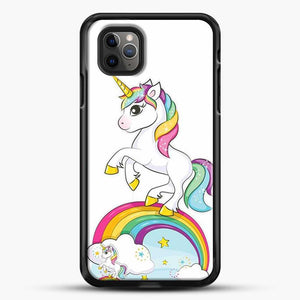 Unicorn Girl Rainbow iPhone 11 Pro Max Case, Black Rubber Case | JoeYellow.com
