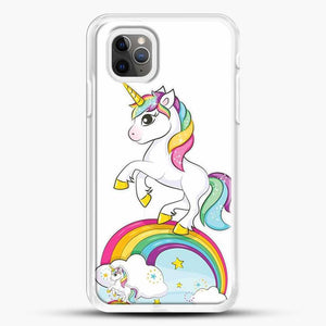 Unicorn Girl Rainbow iPhone 11 Pro Max Case, White Rubber Case | JoeYellow.com