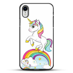 Unicorn Girl Rainbow iPhone XR Case, Black Plastic Case | JoeYellow.com