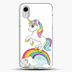 Unicorn Girl Rainbow iPhone XR Case, White Plastic Case | JoeYellow.com