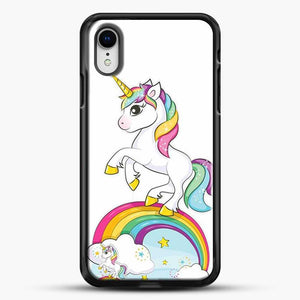 Unicorn Girl Rainbow iPhone XR Case, Black Rubber Case | JoeYellow.com
